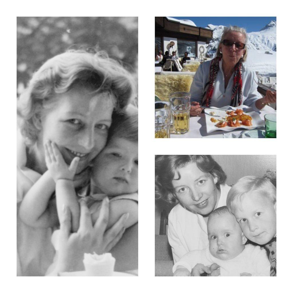 Rahmen mit Bildern von einer Frau und ihren Kindern