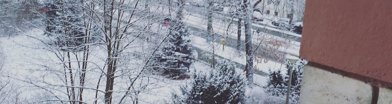 Blick aus einem Fenster in den Schnee